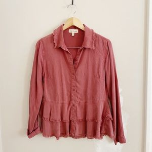 Anthropologie Cloth & Stone fringe tiered top